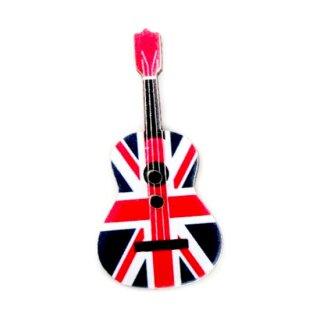 10 Holzknöpfe GB Flaggenaufdruck und Gitarrenform