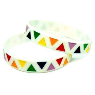 Straight-Pride Armband Weiß + regenbogen Pyramieden