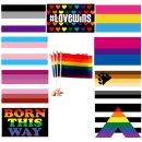 10 PRIDE- Hand-Flaggen im Mix 20*14cm CSD