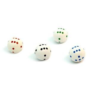 4er Set Runde Würfel in Weiß im Farbmix mit Punkten