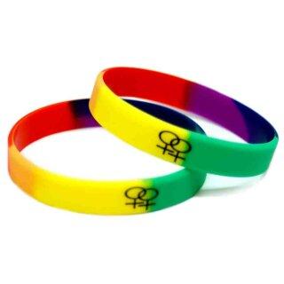 Doppel-Weiblich-Symbol Armband Regenbogen 12mm