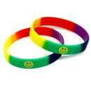 Armband Regenbogenfarben + Smili-Symbol 12mm