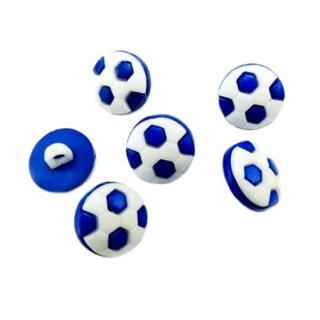 50 Fußball-Knöpfe in Weiß-Dunkelblau 13mm
