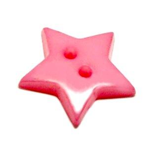 20 Sternknöpfe 2cm 2-Loch in Rosa Kunststoff