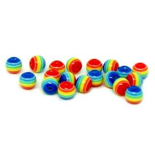 50 Bunte Regenbogen-Perle 6mm für Halsketten