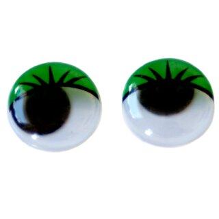 Wackelaugen grüne Wimpern 20mm Selbstklebend