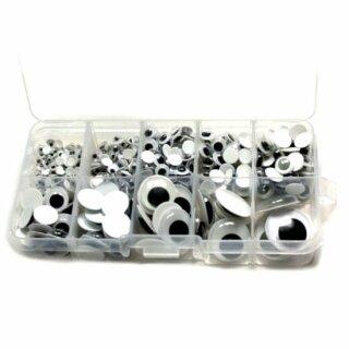 Wackelaugen Box Weiß / Set 4-20mm Selbstklebend