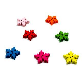 100 Schneeflocken Knöpfe Farbmix aus Holz 18mm