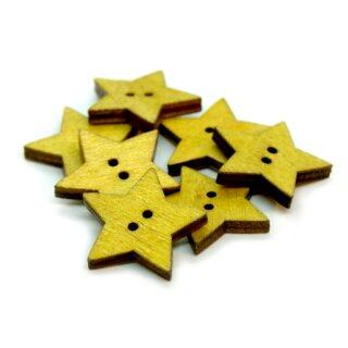 10 Sternknöpfe Gelb aus gefärbtem Holz 24mm