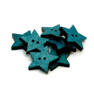 Stern Knöpfe Türkis 2-Loch aus gefärbtem Holz 24mm