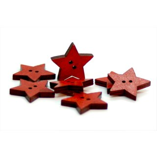 Stern Knöpfe Rot 2-Loch aus gefärbtem Holz 24mm