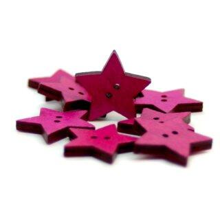 Stern Knöpfe Pink 2-Loch aus gefärbtem Holz 24mm