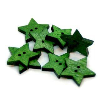 Stern Knöpfe Grün 2-Loch aus gefärbtem Holz 24mm