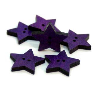 Stern Knöpfe Lila / Violett 2-Loch aus gefärbtem Holz 24mm