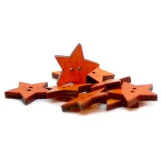 10 Stern Holz-Knöpfe Orange 24mm