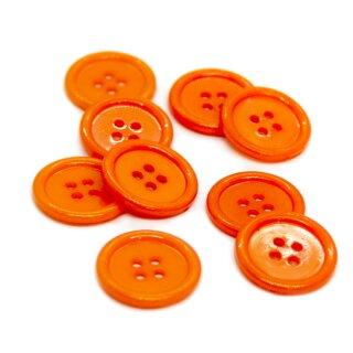4-Loch-Knöpfe mit Rand 2cm in Orange Kunststoff