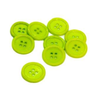 4-Loch-Knöpfe mit Rand 2cm in Grün Kunststoff