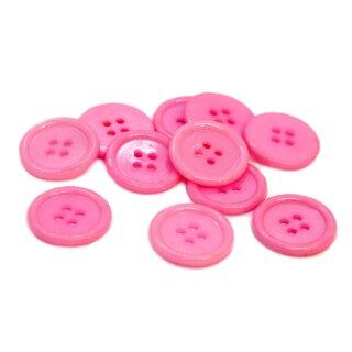 4-Loch-Knöpfe mit Rand 2cm in Rosa Kunststoff