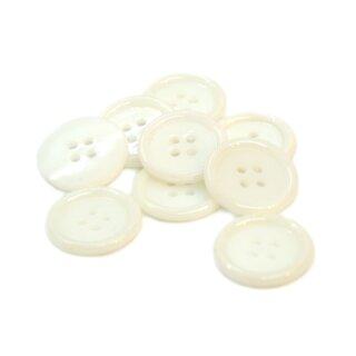 20 Weiße 4-Loch-Knöpfe mit Rand 2cm Kunststoff