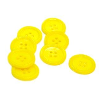 20 Hell-Gelbe 4-Loch-Knöpfe mit Rand 2cm Kunststoff