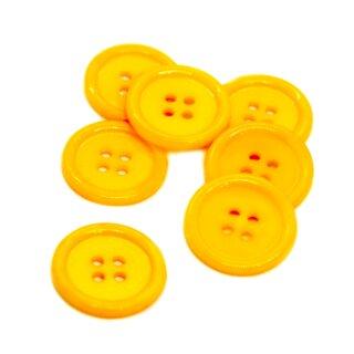 20 Dotter-Gelbe 4-Loch-Knöpfe mit Rand 2cm Kunststoff