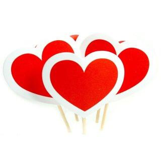 Großes-Herz Cupcake-Topper / Spieße Rot Weiß