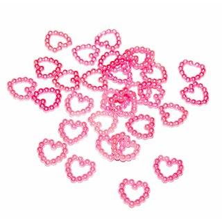 Perlen Herz-Konfetti in Rosa 1cm Durchmesser
