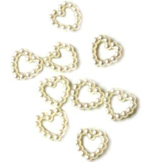 Perlen Herz-Konfetti in Weiß 1cm Durchmesser