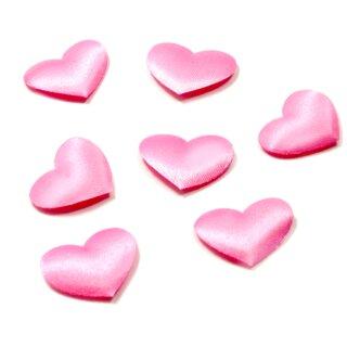 100 Stoff Herz-Konfetti Rosa 15mm x 20mm