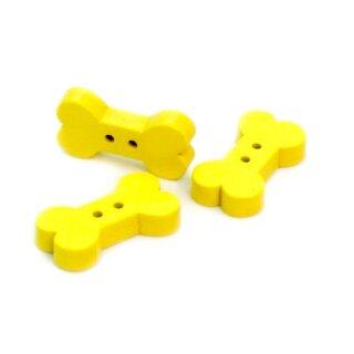 10 Gelbe Hundeknochen Knöpfe aus Holz