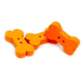 10 Knochen Holz-Knöpfe Orange 18mm Hundeknochen