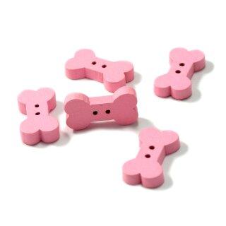 10 Knochen Knöpfe Rosa aus Holz Hundeknochen