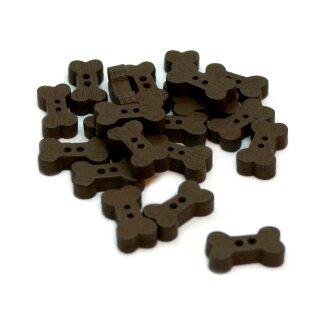 10 [Hunde-] Knochen Holz-Knöpfe in Dunkel-Braun