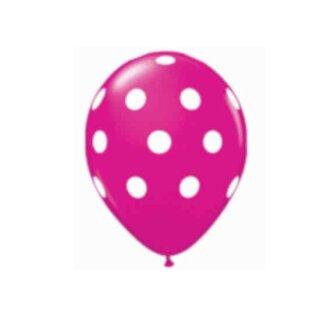Farbige Ballons Pink mit weißen Punkten Aufdruck