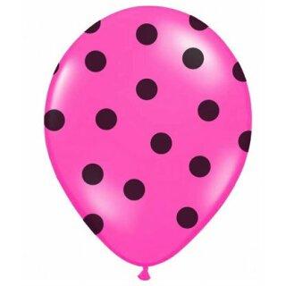 Farbige Ballons Pink mit schwarzen Punkten/ Dot