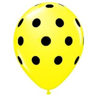 Farbige Ballons Gelb mit schwarzen Punkten/ Dot