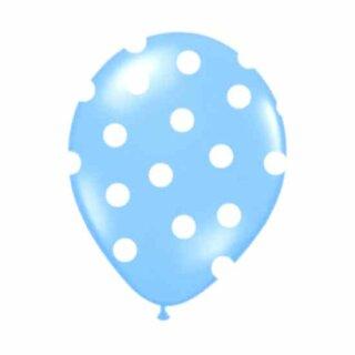 Farbige Ballons Hellblau mit weißen Punkten/ Dot