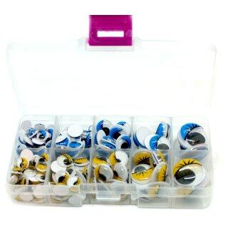 Blau-Gelbe Wackelaugen Box 8- 20mm Selbstklebende