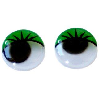 10 Wackelaugen grüne Wimpern 30mm Selbstklebend