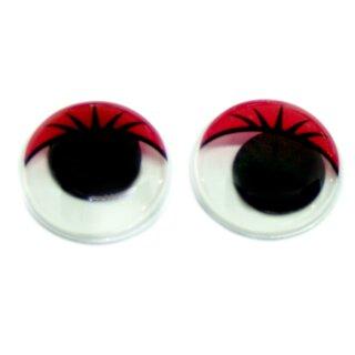 10 Wackelaugen rote Wimpern 30mm Selbstklebend
