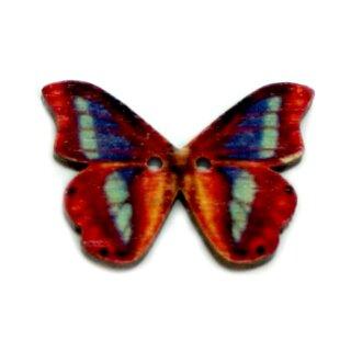 6 Schmetterlings Knöpfe Rot-Blau aus Holz