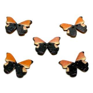 6 Schmetterlings-Holzknöpfe Schwarz-Orange