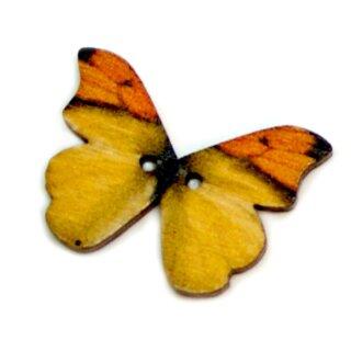 6 Schmetterlings Holzknöpfe Orange-Gelb
