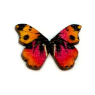 6 Schmetterlings Holz-Knöpfe Orange-Pink-Schwarz