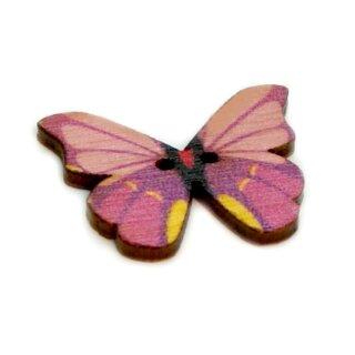 6 Schmetterlings Knöpfe Rosa-Gelb aus Holz 28mm