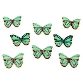 6 Schmetterlings Knöpfe Türkis-Schwarz aus Holz