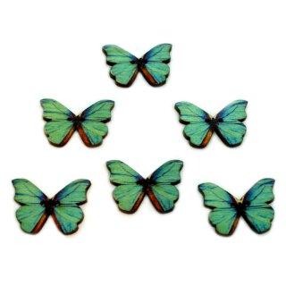 6 Schmetterlings Knöpfe Türkis-Braun aus Holz 28mm