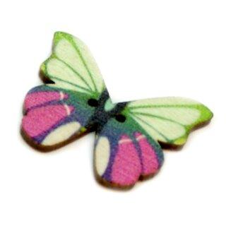 6 Schmetterlings Knöpfe Hellgrün-Pink aus Holz 28mm