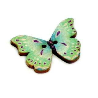 6 Schmetterlings Holzknöpfe Hellblau-Türkis