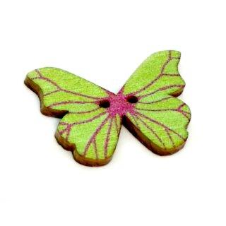 6 Schmetterlings Knöpfe Grün mit pinkfarbenen Streifen